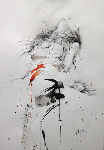 Encres de chine, fusain et pierre noire sur papier. Ewa Hauton Peinture