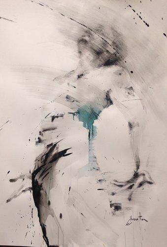 Encres de chine, fusain et pierre noire sur papier. Ewa Hauton Peinture Fusain, Encre de Chine sur Papier