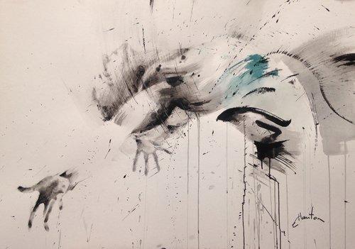 Encres de chine, fusain et pierre noire sur papier. Ewa Hauton Painting Charcoal, India ink on Paper
