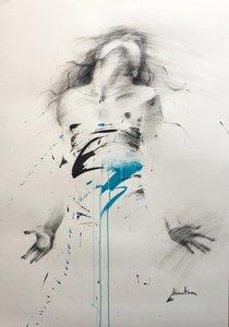 Danse, bleu léger Ewa Hauton Dessin Fusain, Encre de Chine sur Papier