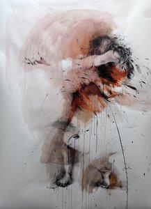 Danse, orange Ewa Hauton Painting Pencil, Charcoal, India ink on Paper