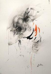 Encre de chine, fusain et pierre noire sur papier. Ewa Hauton Dessin Fusain, Encre de Chine sur Papier