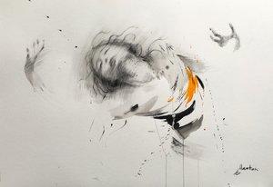 Encre de chine, fusain et pierre noire sur papier. Ewa Hauton Peinture Crayon, Fusain, Encre de Chine sur Papier