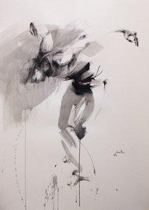 Dancer Ewa Hauton Peinture Crayon, Fusain, Encre de Chine sur Papier