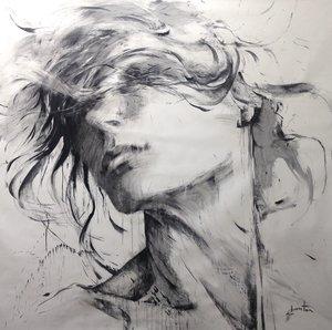 L'instant Ewa Hauton Malerei Öl, Kohle auf Leinwand