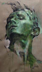 Tête en bronze (après Rodin) Ewa Hauton Peinture Huile, Pastel, Crayon sur Toile