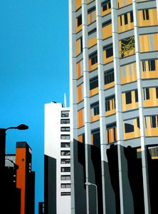 South Bank (Noon) Roger Aslin Painting Acrylic