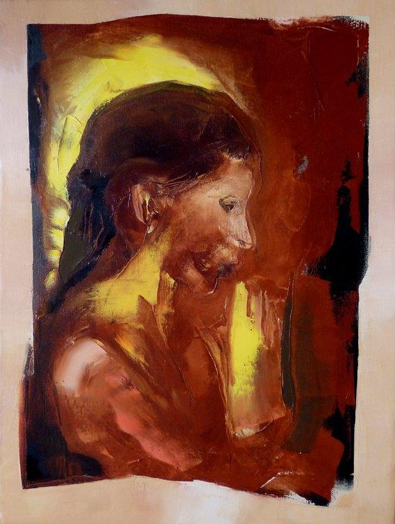 Portrait à la lueur de bougie Frédéric Belaubre Peinture Huile sur Toile