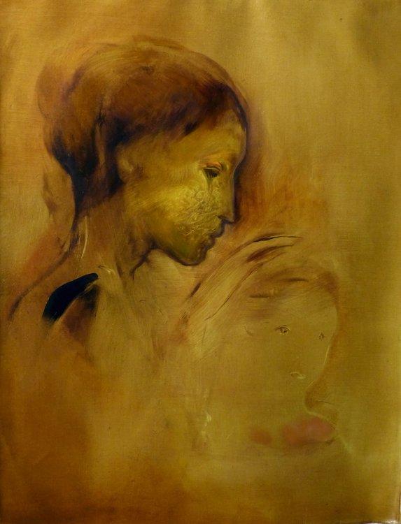 Maternité Frédéric Belaubre Peinture Huile sur Toile