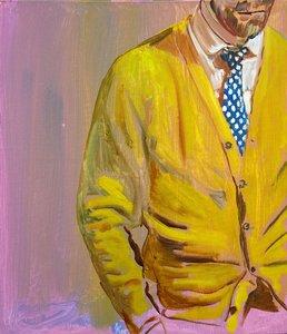 Gelbe Jacke Ágnes Lörincz Malerei Öl auf Leinwand