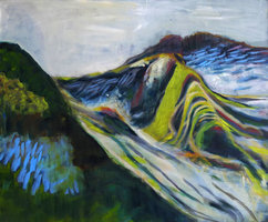 Holz Hängele karolin hägele vulkan i malerei 2017 tempera auf holz