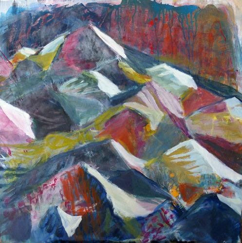 Holz Hängele vulkanlandschaft karolin hägele 2017 malerei tempera auf holz