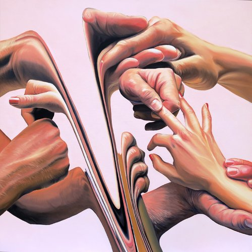 Hand Glitch Megan Archer Painting Oil on Canvas