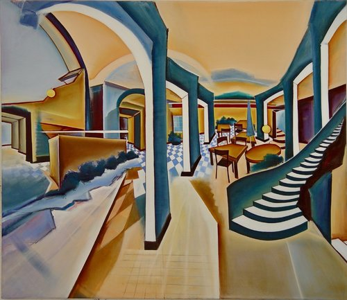 Das blaue Café Christin Lutze Peinture Huile, Fusain, Tempera sur Toile