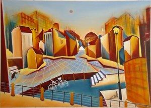 Kiez Christin Lutze Painting Oil, Charcoal on Canvas