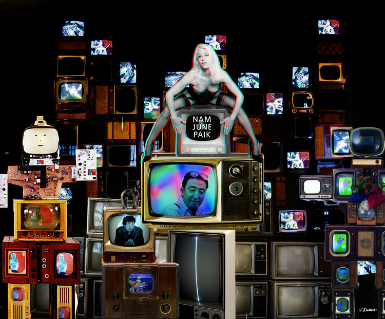 Nam June Paik Was A Tv Screen By Thomas Dellert 2019 Print Giclee Print On Paper Singulart