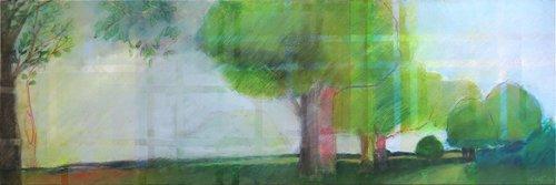 sentier des doubles arbres Skadi Engeln Peinture Pastel, Tempera sur Toile