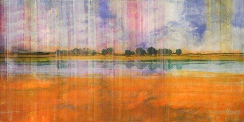 Berry orange-blau durchwebt Skadi Engeln Peinture Pastel, Tempera sur Toile