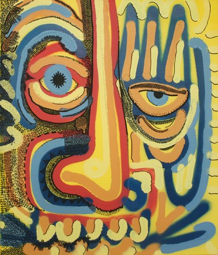 Sans titre Camille Adra Painting Graffiti, Spray paint, Ink on Canvas