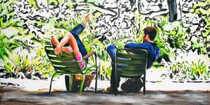 Les Tuileries Monique Wender Peinture Acrylique sur Toile
