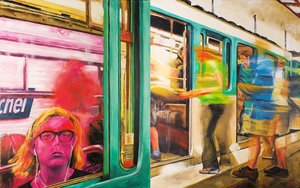 Station Saint-Michel rose Monique Wender Peinture Acrylique sur Toile