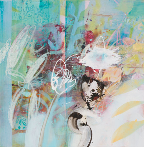 """""""Into the blue again a"""" Birgit Fechner Painting Acrylic, Collage, Lithography on Canvas"""