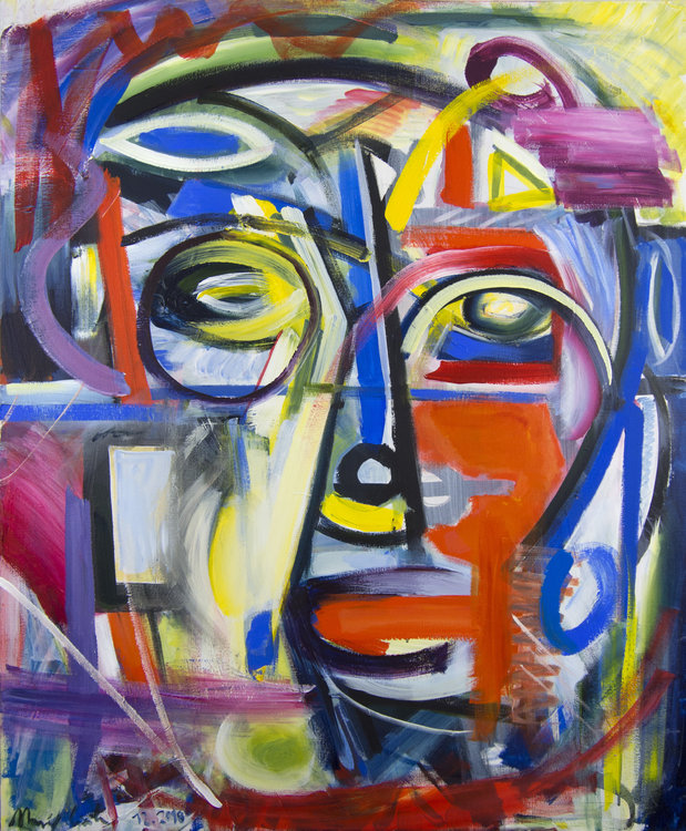 """Abstract / expressive  painting"""" Between self portrait and dream I """" expressive Gemälde Maciej Cieśla Painting Acrylic on Canvas"""