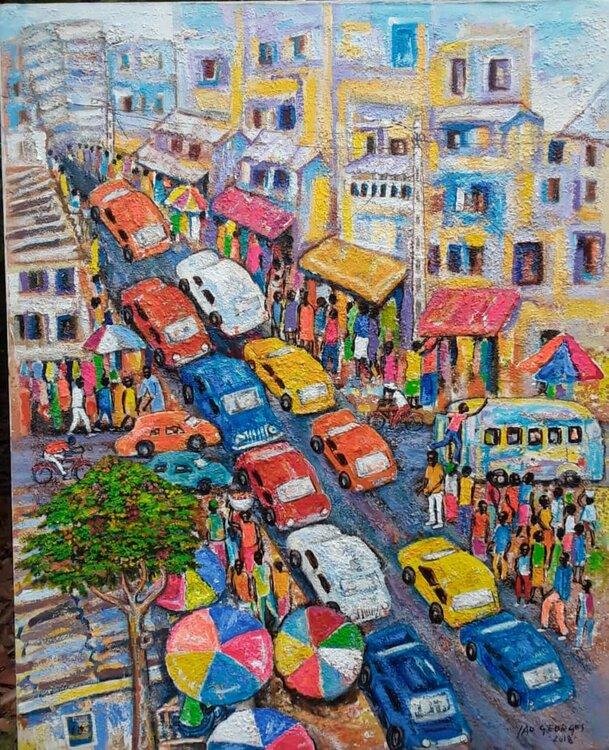 Le Carrefour De Georges Yao 2018 Peinture Acrylique Pigments Sur Toile Singulart