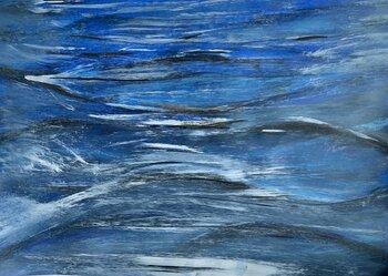Blue Underwater Painting In Acrylic On Canvas Hyperrealism Ocean Paintings Swimming In Water By Kumi Muttu 2019 Painting Acrylic On Canvas Singulart